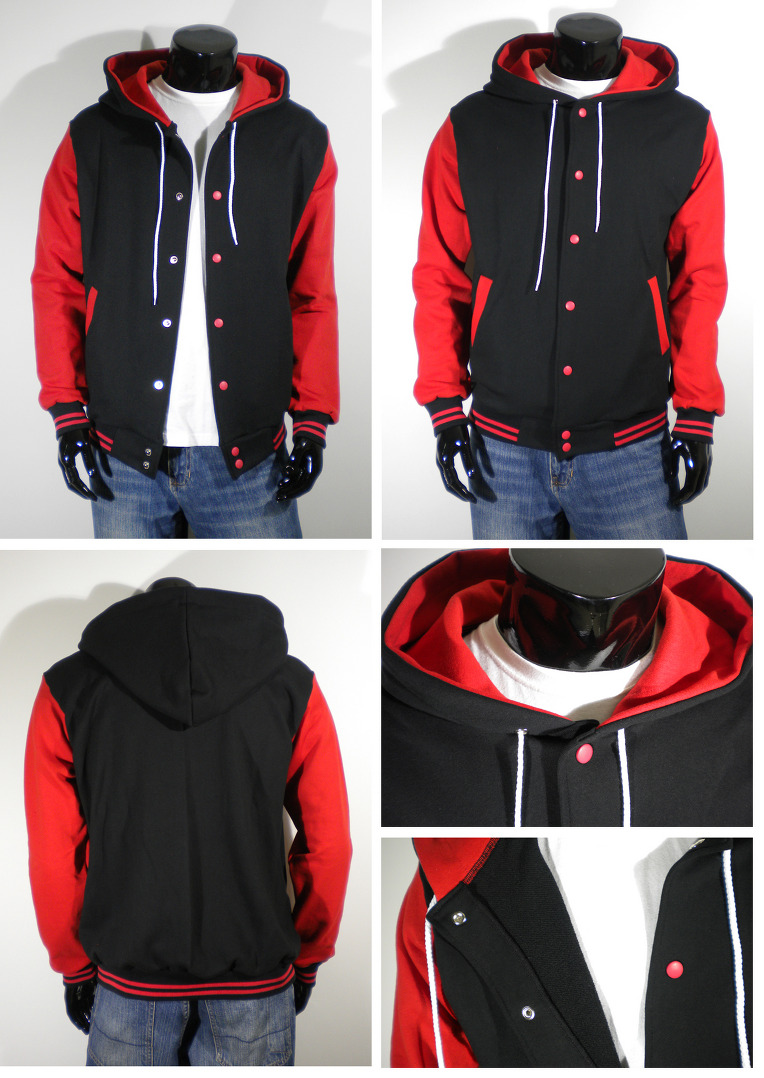 Mens Unisex New Varsity Letterman Hoodie Baseball Jacket Plain ...
