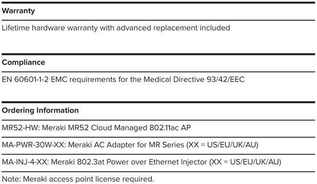 Meraki Cisco MR52-HW Cloud Managed Wireless 머라키 클라우드