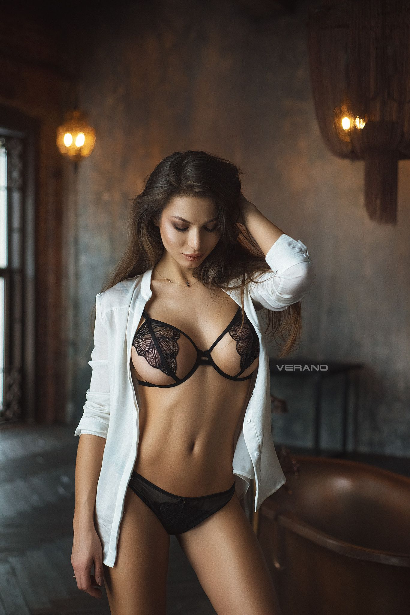 beautiful boobs girl in sexy lingerie